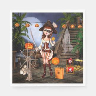 Guardanapo De Papel Da menina bonito do pirata do Dia das Bruxas