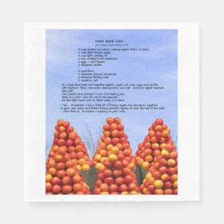 Guardanapo de papel da receita do bolo de Apple