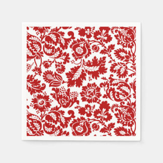 Guardanapo De Papel Damasco floral de William Morris, vermelho escuro