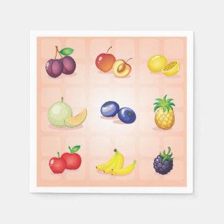 Guardanapo de papel das várias frutas