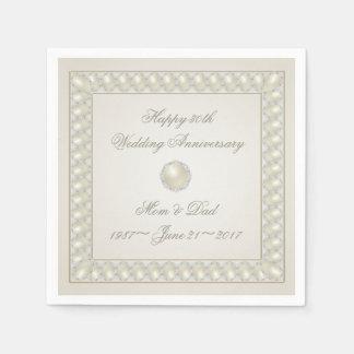 Guardanapo de papel de aniversário de casamento da