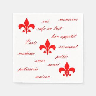 Guardanapo de papel de Emilion vermelhos no branco