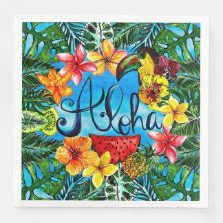 Guardanapo De Papel De Jantar Aloha - comida da flor e design tropicais do verão