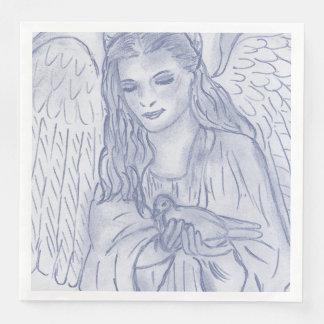 Guardanapo De Papel De Jantar Anjo calmo no azul obscuro