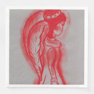 Guardanapo De Papel De Jantar Anjo lateral no vermelho