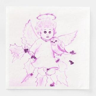 Guardanapo De Papel De Jantar Anjo pequeno no rosa