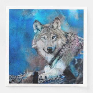 Guardanapo De Papel De Jantar Arte da aguarela do lobo