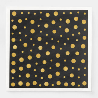 Guardanapo De Papel De Jantar Bolinhas elegantes - ouro preto