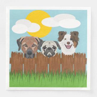 Guardanapo De Papel De Jantar Cães afortunados da ilustração em uma cerca de