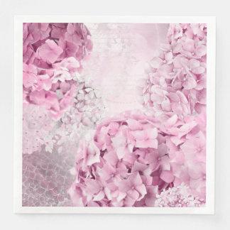 Guardanapo De Papel De Jantar Colagem do Pastel do Hydrangea da flor do