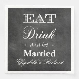 Guardanapo De Papel De Jantar Coma, bebida & seja casamento casado do quadro