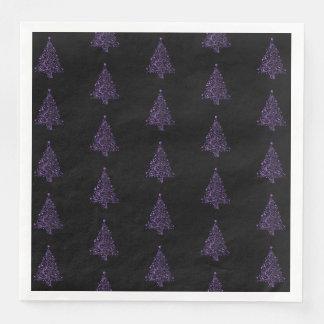 Guardanapo De Papel De Jantar Elegante preto roxo do teste padrão da árvore do