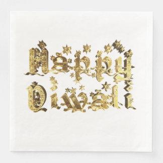 Guardanapo De Papel De Jantar Festival feliz de Diwali da tipografia do ouro das