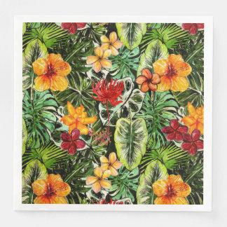 Guardanapo De Papel De Jantar Flores exóticas da flor da selva do vintage