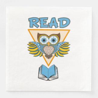 Guardanapo De Papel De Jantar Leia a coruja azul do ouro dos livros