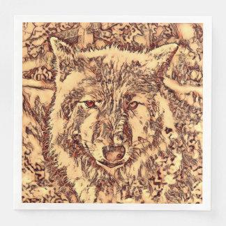 Guardanapo De Papel De Jantar Lobo surpreendente animal de ArtsStudio-