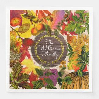 Guardanapo De Papel De Jantar Madeira do vintage da colagem das folhas de outono