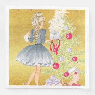 Guardanapo De Papel De Jantar Mágica do Natal - louro que decora uma árvore