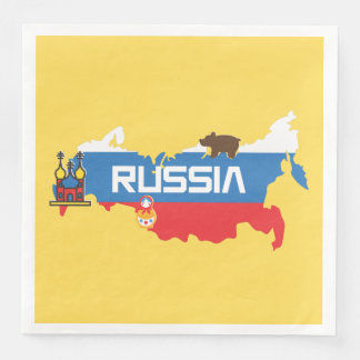 Guardanapo De Papel De Jantar Mapa de Rússia com a bandeira azul e vermelha
