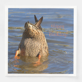 Guardanapo De Papel De Jantar O feliz aniversario assenta-se acima do pato