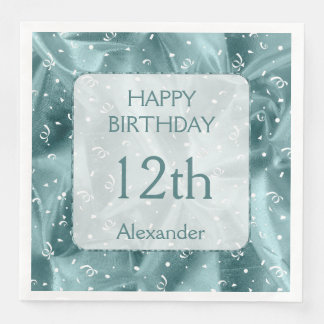 "Guardanapo De Papel De Jantar Personalize: ""Aqua do feliz aniversario"" Textured"