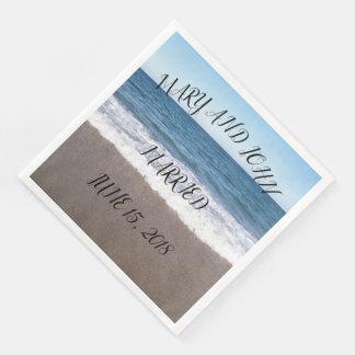 Guardanapo De Papel De Jantar Praia no casamento do oceano