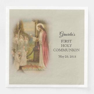 Guardanapo De Papel De Jantar Primeiro anfitrião católico de Jesus da criança do