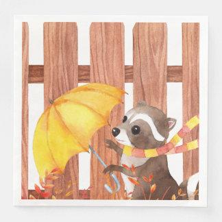 Guardanapo De Papel De Jantar racoon com guarda-chuva que anda pela cerca