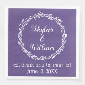 Guardanapo De Papel De Jantar Recepção roxa simples do casamento ultravioleta