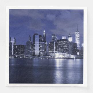 Guardanapo De Papel De Jantar Skyline de New York banhada no azul