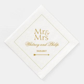 Guardanapo De Papel De Jantar Sr. Wedding personalizado Sra. Ouro