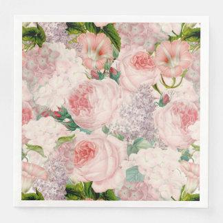 Guardanapo De Papel De Jantar Teste padrão retro Painterly do primavera da flor