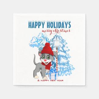Guardanapo De Papel Desenhos animados do Natal do filhote de cachorro