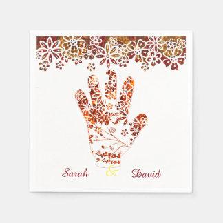 Guardanapo De Papel Design decorado ornamentado da mão do Henna de