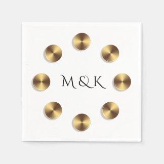 Guardanapo De Papel Design dourado dos círculos. Monograma