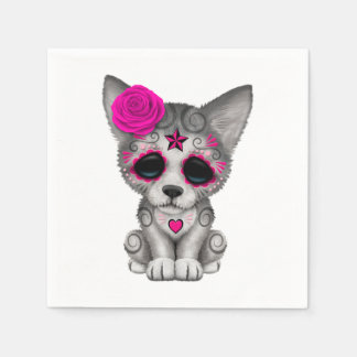 Guardanapo De Papel Dia cor-de-rosa do lobo Cub inoperante