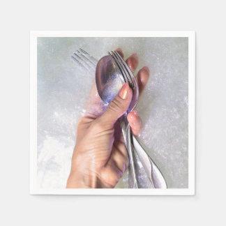 Guardanapo de papel do brilho disponivel da pratas