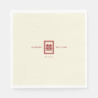Guardanapo de papel do casamento chinês dobro