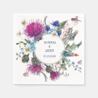 Guardanapo de papel do casamento floral escocês do