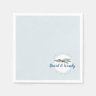 Guardanapo de papel do casamento no inverno azul