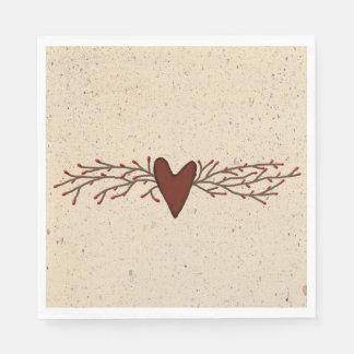 Guardanapo de papel do coração da baga da semente