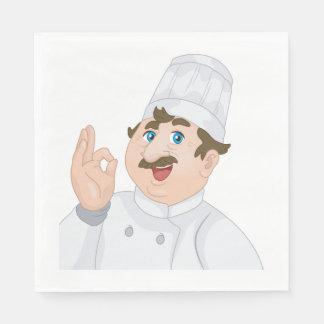Guardanapo de papel do cozinheiro chefe feliz