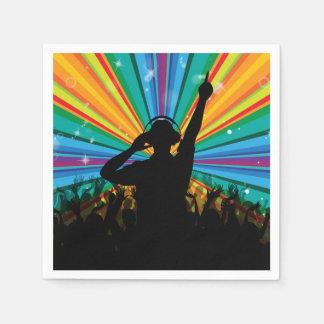 Guardanapo de papel do DJ da música