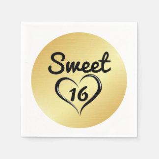 Guardanapo de papel do doce 16 do ouro com coração