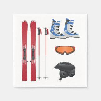 Guardanapo de papel do equipamento do esqui