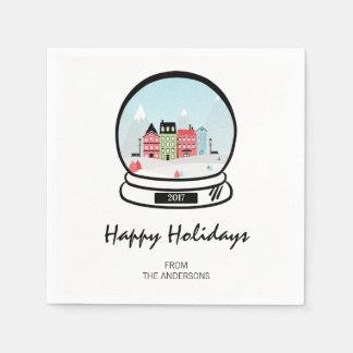 Guardanapo de papel do feriado do globo da neve do