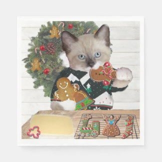 Guardanapo de papel do gatinho do biscoito do
