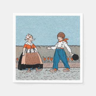 Guardanapo De Papel Do menino holandês pequeno da menina do vintage
