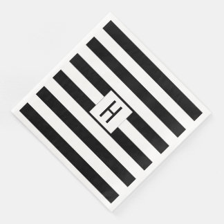 Guardanapo de papel do monograma preto e branco