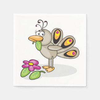 Guardanapo de papel do pavão dos desenhos animados